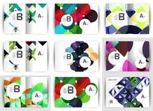 A4 brochure templates, geometric design, set of backgrounds. Vector illustration Stock Images