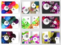 A4 brochure templates, geometric design, set of backgrounds. Vector illustration Royalty Free Stock Photography