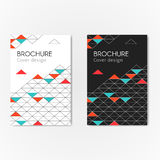 Brochure triangles background. Modern business brochure abstract geometric background. Colorful geometric triangles, lines and shape. Vector illustration cover Stock Photo