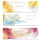 Brochure vector set in floral style Stock Photos