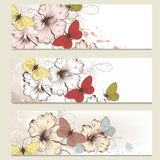 Brochure vector set in floral style with butterflies Royalty Free Stock Photos