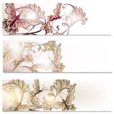 Brochure vector set in floral style with butterflies Royalty Free Stock Photography