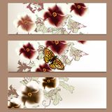 Brochure vector set in floral style for design Royalty Free Stock Image