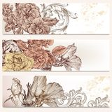 Brochure vector set in floral style with flowers Royalty Free Stock Photos