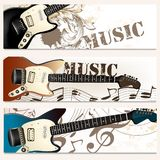 Brochure vector set on music theme with bass guitars Royalty Free Stock Photography