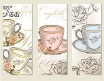 Brochure vector set with vintage cups of tea Royalty Free Stock Photo