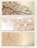 Brochure vector set with vintage swirl ornament for design Royalty Free Stock Images