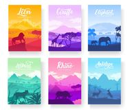 Brochures with African animals in natural habitat. Set of flyers with wildlife in the sunset of the day. Template of royalty free illustration