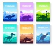 Brochures avec l'ensemble de dinosaures primitifs colorés Animaux prédateurs carnivores avant AVANT JÉSUS CHRIST Calibre des maga illustration de vecteur