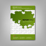 Brochures book or flyer with white puzzle green template Royalty Free Stock Image
