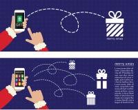 Brochures en ligne d'achats de Noël Images stock