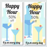Brochures happy hours in minimalism style. Bottles and glasses with cocktails are drawn in geometric shapes Royalty Free Stock Photos