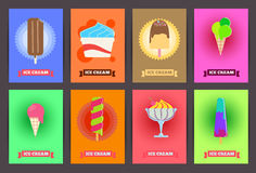 Brochures with ice cream. Vector templates. Backgrounds with ice Stock Photography