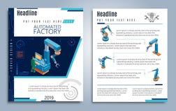 Brochures isométriques d'usine automatisée illustration de vecteur