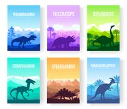 Brochures with set of colorful primitive dinosaurs. Carnivorous predator animals before BC. Template of magazines. Poster, book cover, banners. Landscape vector illustration