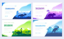 Brochures with set of primitive dinosaurs. Carnivorous predator animals before BC. Template of flyear, web banner, ui. Header, enter site. Invitation concept royalty free illustration