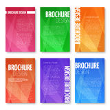 Brochures and UI vector templates set with abstract triangular pattern Stock Images