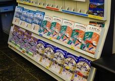 Brochures van het Spoorpas van Japan bij post stock afbeelding
