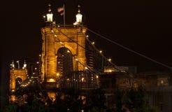 brocincinnati john ohio roebling inställning Roebling bro Royaltyfria Bilder