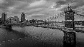 brocincinnati john ohio roebling inställning roebling inställning för bro Royaltyfria Bilder