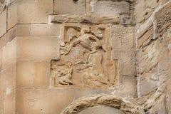Brocken änglar med vingar på lättnad av den Jvari kloster, 6th århundrade i Mtskheta, Georgia Världsarvplats av UNESCO Arkivfoto