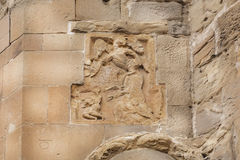 Brocken angels with wings on relief of Jvari Monastery, 6th century in Mtskheta, Georgia. World Heritage site by UNESCO Stock Photo
