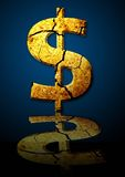 Brocken  Dollar. Illustration of a broken dollar at  blue and black background with reflection Stock Image