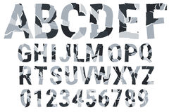 Brocken font - urban camouflage. Decorative alphabet. A-Z, 0-9. Vector illustration Stock Images