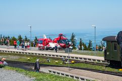 Brocken Germany - May 27. 2017: German Air Rescue Helicopter at. Brocken Mountain stock photography
