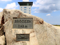 Brocken in the Harz Mountains, altitude information Royalty Free Stock Photo