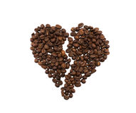Brocken serce robić kawowe fasole Obrazy Royalty Free