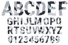 Brocken stilsort - stads- kamouflage dekorativt alfabet A-Z 0-9 också vektor för coreldrawillustration Arkivbilder