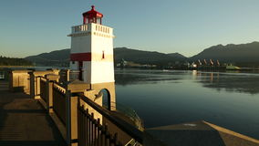 Brockton Point Lighthouse, Burrard Inlet stock video footage