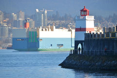 Brockton Point Lighthouse and Vancouver Harbor Royalty Free Stock Images