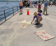 Brockville Tall Ships Festival 9. Brockville, Ontario, Canada - Tall Ships Festival June 16, 2013. 3D Chalk drawer Guy Whales royalty free stock photos