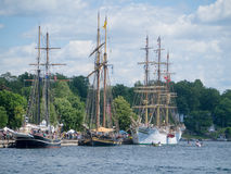 Brockville Tall Ships Festival 4. Brockville, Ontario, Canada - Tall Ships Festival June 16, 2013. Tall Ship Sorlandet, Pride of Baltimore and Fair Jeanne royalty free stock photos