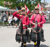 Brockville Tall Ships Festival 7. Brockville, Ontario, Canada - Tall Ships Festival June 16, 2013. Two mounties on their horses royalty free stock photo