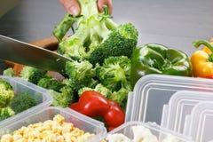 Brocoli, corn, pepper salad cooking. Corn, brocoli, pepper salad cooking wooden board stock images