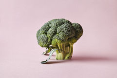 Brocoli d'isolement sur le fond rose Style moderne des légumes, éléments de conception de hippie Photographie stock libre de droits