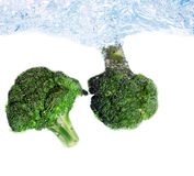 Brocoli falling into water Stock Images