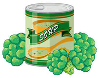 Brocolli soup in can. Illustration Stock Photos