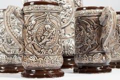 Brocs de bière faits en en céramique Images libres de droits