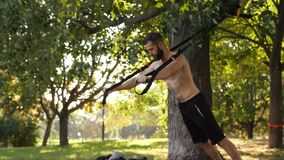 Brodaci młodzi mięśniowi mężczyzn początki w górę ćwiczyć z sprawnością fizyczną zapętlają w światło słoneczne parku 4K zwalniają zbiory wideo
