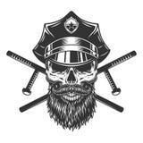 Brodata i mustached policjant czaszka royalty ilustracja