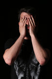 Brodata mężczyzna przymknięcia stora zakończenie W górę czerń Obraz Royalty Free