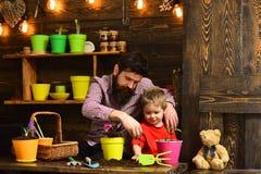Brodata mężczyzny i chłopiec dziecka miłości natura Kwiat opieki podlewanie Glebowi użyźniacze Rodzinny dzień charcica Szczęśliwy fotografia stock