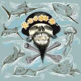 Brodata pirat czaszka i podwodny życie - wręcza patroszonego wektor ilustracji