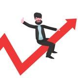 Brodaty biznesmena obsiadanie na czerwonym wykresie r upwards up i przedstawienie kciuku royalty ilustracja