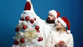 Brodaty mężczyzna i blondyn kobieta w nowego roku ` s kapeluszach dekorujemy choinki na błękitnym tle Kochający pary narządzanie  zdjęcie wideo