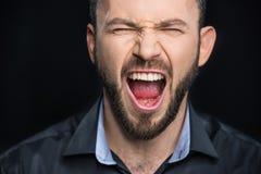 Brodaty mężczyzna krzyczeć Zdjęcie Royalty Free